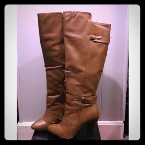 Knee high zip up boots